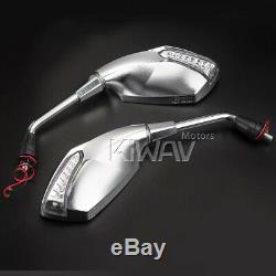 Flashing Led Chrome Motorcycle Mirrors For Honda Africa Twin 750 XIV Vf 1000