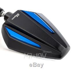 Pair Achilles Mirror Black + Blue For Honda Fourteenth 750 Africa Twin Vf 1000
